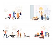 Set Of Pet Owners Performing With Pets. Flat Vector Illustrations Of People Exercising And Playing W poster