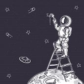 Astronaut Draws A Starry Sky. Astronaut Is Standing On The Stairs. poster
