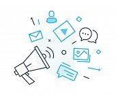 Social Media Post. Virtual Communication Smartphone. Cooperation Interaction. Vector Illustration Ep poster