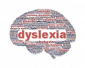 picture of dyslexia  - Dyslexia disorder symbol isolated on white background - JPG
