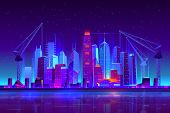 Night City Building With Construction Cranes In Neon Lights. Growing Metropolis Development Skyline, poster