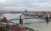 Morning In Budapest. Panoramic View Of The City, Szechenyi Bridge And The Building Of The Budapest P poster