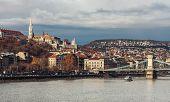 Morning In Budapest. View Of The Buda Castle And Szechenyi Bridge. poster