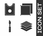 Set Textile Fabric Roll, Sewing Pattern, Cutter Tool And Textile Fabric Roll Icon. Vector poster