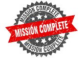 Mission Complete Grunge Stamp With Red Band. Mission Complete poster