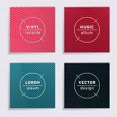 Linear Plate Music Album Covers Collection. Halftone Lines Backgrounds. Minimalistic Plate Music Rec poster
