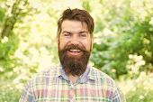 Theres Magic In His Smile. Cheerful Hipster With White Healthy Smile On Unshaven Face. Bearded With  poster