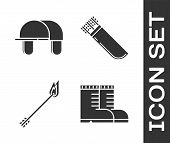 Set Hunter Boots, Hunter Hat, Flame Arrow And Quiver With Arrows Icon. Vector poster