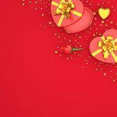Happy Valentines Day, Valentines Day Background,rose Flower Heart Shape Gift Box , Gold Confetti Gli poster