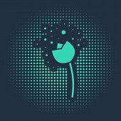 Green Flower Producing Pollen In Atmosphere Icon Isolated On Blue Background. Abstract Circle Random poster