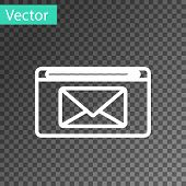 White Line Mail And E-mail Icon Isolated On Transparent Background. Envelope Symbol E-mail. Email Me poster