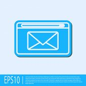 Blue Line Mail And E-mail Icon Isolated On Grey Background. Envelope Symbol E-mail. Email Message Si poster