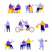 Set Of Flat People Happy Elderly People Performing Daily Activities Characters. Cartoon Tiny People  poster