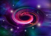 Black Hole, Vector Spiral Galaxy Space. Star Field In Space And A Nebulae. Abstract Background Of Un poster