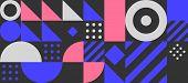 Bauhaus Geometric Minimal Seamless Pattern, Vector Color Template, Black Swiss Background poster