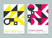 Bauhaus Geometric Minimal Poster, Cover For Booklet, Brochure, Vector Color Template, Swiss Pattern poster