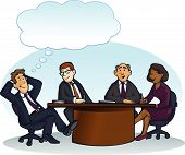 stock photo of pep talk  - Vector image of group of people meeting around a table - JPG