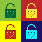 Color Lock And Heart Icon Isolated On Color Background. Locked Heart. Love Symbol And Keyhole Sign.  poster