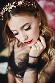 Fashion Portrait Of Elegant Luxurious Woman With Perfect Makeup And Expensive Trendy Gold Jewelry. M poster