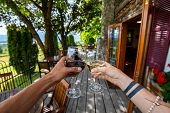 Happy Lovers Couple Hands Toasting Red And White Wine Glasses, Selective Focus, Wine Drinking, Tasti poster