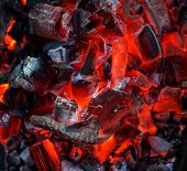 Burning Coal. Glowing Embers Smoldering. Fire Place With Glowing Coal. Live Coal Burning. Background poster