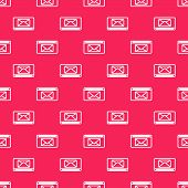 White Line Mail And E-mail Icon Isolated Seamless Pattern On Red Background. Envelope Symbol E-mail. poster