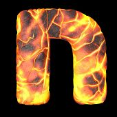 Volcanic Hebrew Alphabet And Number 3d Rendering Of Volcanic Font With Lava Isolated On Black Backgr poster