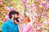 I Love You. Tender Love Feelings. Loving Man And Woman On A Walk In A Spring Blooming Park. True Lov poster