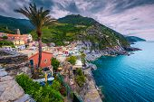 Vernazza Village Panorama View From The Tower Of Doria Castle. Amazing Colorful Mediterranean Houses poster