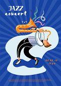 Jazz Concert Leaflet Template. Saxophone Player Cartoon Character. Professional Musician Improvisati poster