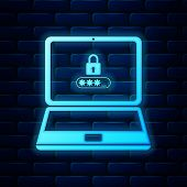 Glowing Neon Laptop With Password Notification And Lock Icon Isolated On Brick Wall Background. Conc poster