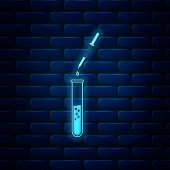 Glowing Neon Laboratory Pipette With Liquid And Falling Droplet Over Glass Test Tube Icon Isolated O poster