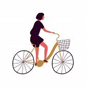 Woman Riding Bicycle With Basket Flat Vector Illustration. Middle Aged Lady At Urban Vehicle. Female poster