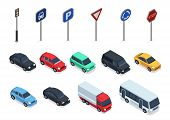 Isometric Cars. Road Signs, 3d Vehicles Isolated On White Background. Autos, Truck And Bus Vector Se poster