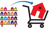 stock photo of trolley  - Concept of buying a house or property on sale - JPG