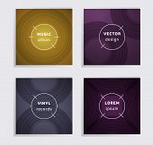 Abstract Vinyl Records Music Album Covers Set. Semicircle Curve Lines Patterns. Minimalistic Creativ poster