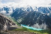 Spectacular View To Scenic Valley With Big Beautiful Mountain Lake Surrounded By Giant Snowy Ranges  poster