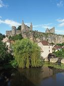 stock photo of poitiers  - Angles sur Anglin has been selected as one of the most beautiful villages of France with castle ruins dating from the 11th century - JPG