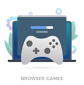 Browser Games Flat Vector Icon. A Laptop With An Open Browser Window In Which The Game Loads. The Co poster