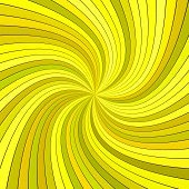 Yellow Abstract Psychedelic Striped Swirl Background Design - Vector Illustration From Curved Rays poster