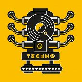 Vinyl Record With Car Engine. Techno And Industrial Party Poster. Hip-hop Music Vector Sign. poster