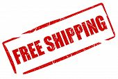 pic of shipping receiving  - Free shipping stamp isolated on white background - JPG
