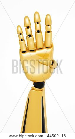 Golden 3D Robotic Hand Showing Number Four