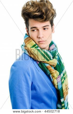 Attractive Young Man Wearing Blue Jacket And Scarf