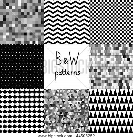 Abstract black and white seamless patterns set,