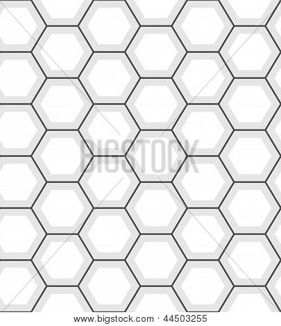White hexagon abstract geometric seamless pattern, vector