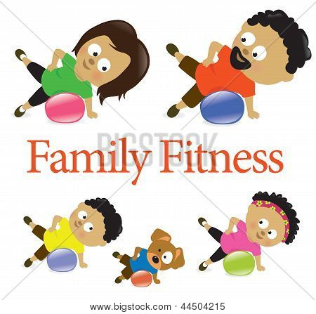 Family fitness with exercise ball 2