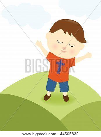 Boy praising the Lord