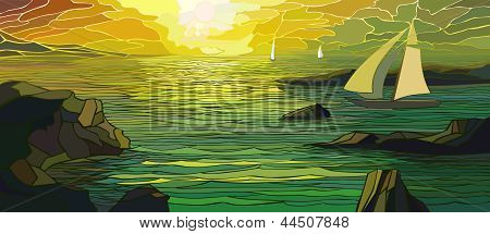 Illustration Of Cartoon Sailing Yacht In Sunset.