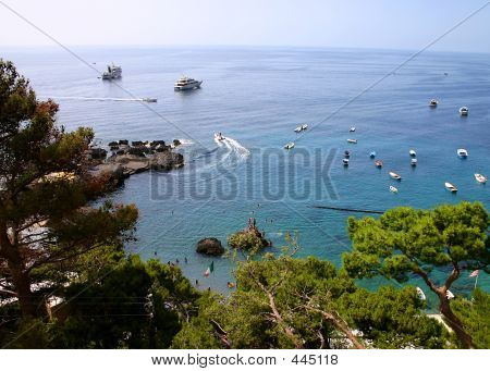 Boats Anchored In Bay